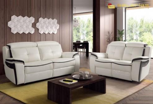 Blanco negro sof s de piel para salones minimalistas - Tipos de piel para sofas ...